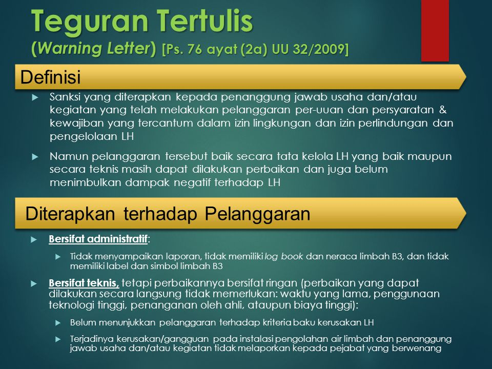 Teguran Tertulis (Warning Letter) [Ps. 76 ayat (2a) UU 32/2009]